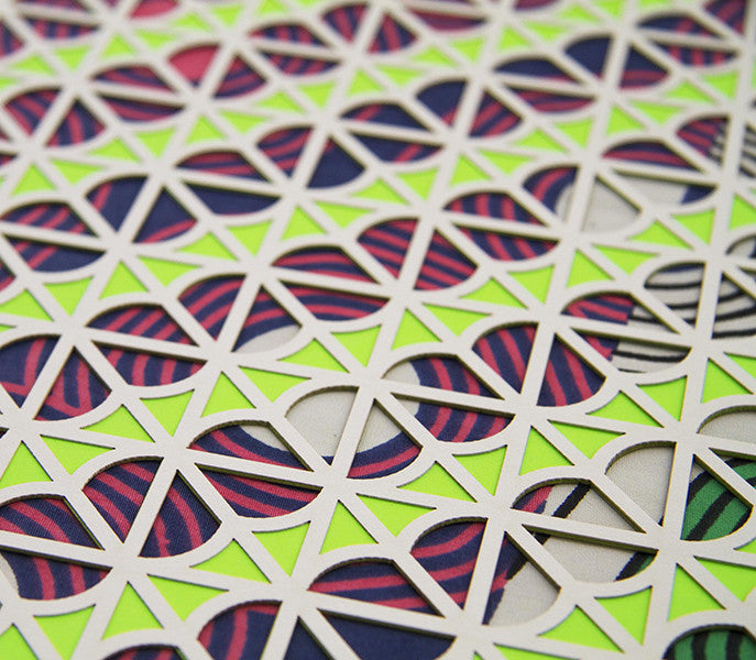 Neon Green Geo Laser Cut Artwork - LEIF