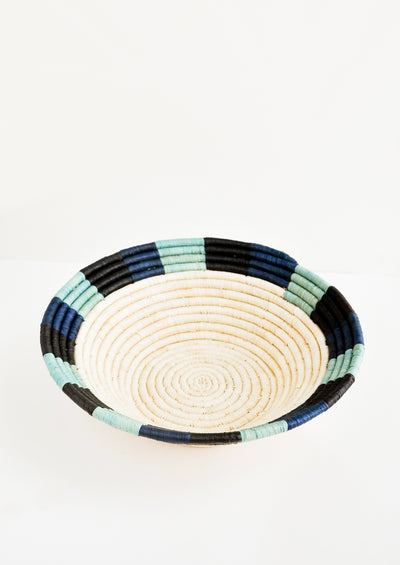 Colored Rim Raffia Basket in Blue Multi - LEIF