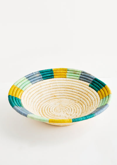 Colored Rim Raffia Basket hover