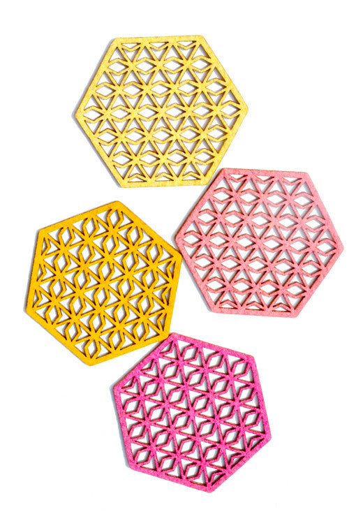 Color Cutout Hexagon Coasters - LEIF