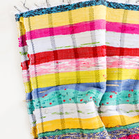 1: Multicolor striped cotton blanket in a bright mix of hues