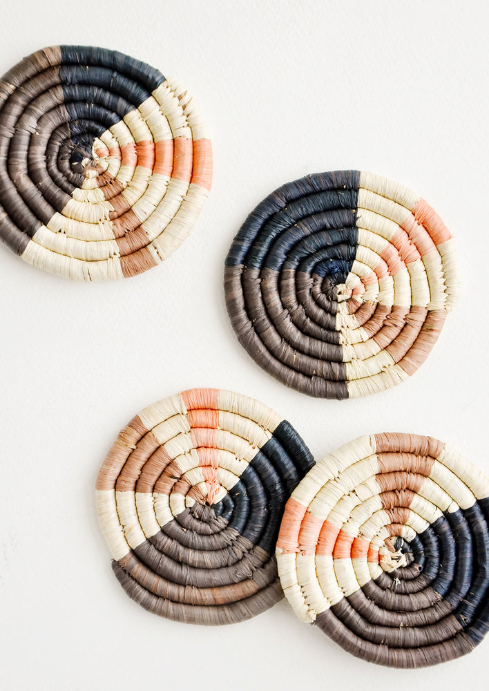 1: Color Wheel Raffia Coaster Set in  - LEIF