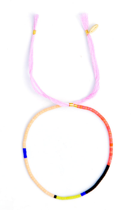 Colorblock Beaded Bracelet in Pink Multi - LEIF