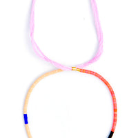 Pink Multi: Colorblock Beaded Bracelet in Pink Multi - LEIF
