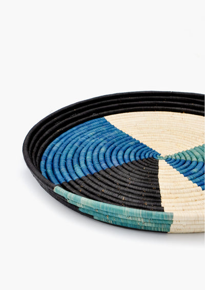 Colorblocked Raffia Serving Tray
