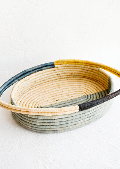 Colorblocked Raffia Basket