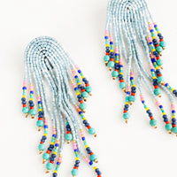 Aqua Multi: Dangly earrings with multiple strands stemming from an arched shape, heavily beaded in a multicolor mix of beads