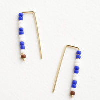 Cobalt / Merlot: Staple shaped earrings in gold metal with stacked glass seed beads on one side in a mix of colors