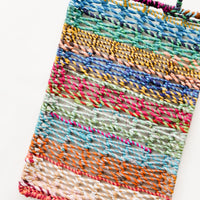 Large [$36.00]: Striped Multicolor Fabric Woven Rectangular Tray with Handles at either end.