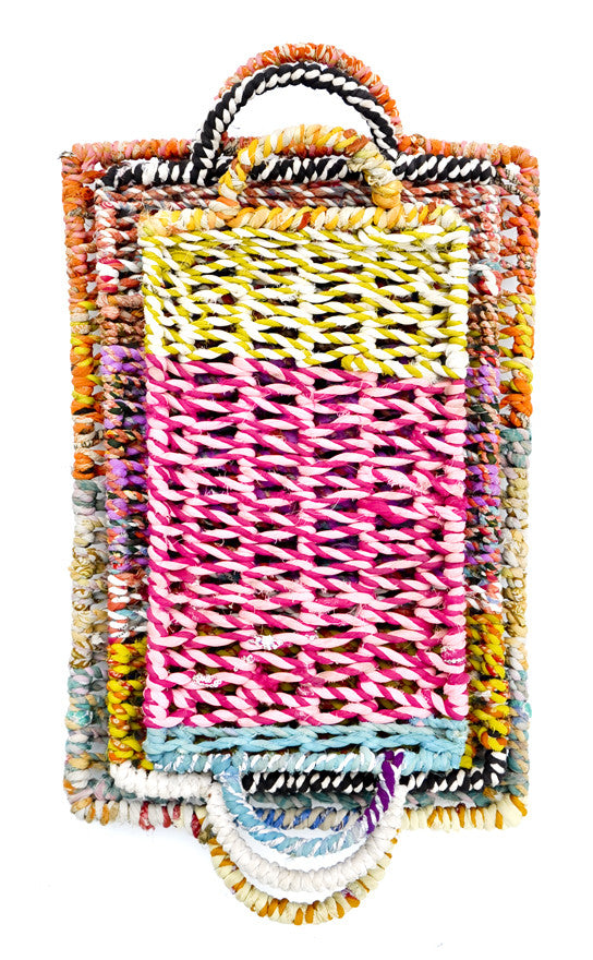 5: Three multicolor woven fabric rectangular trays stacked from largest to smallest.