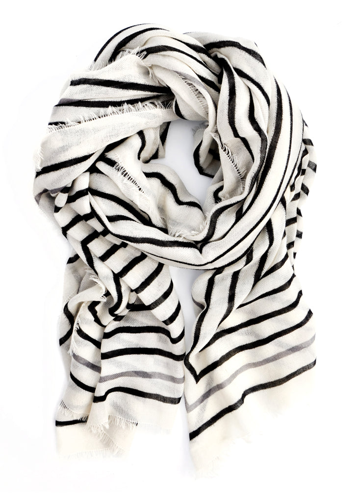 1: Concentric Lines Wool-Cashmere Scarf in  - LEIF