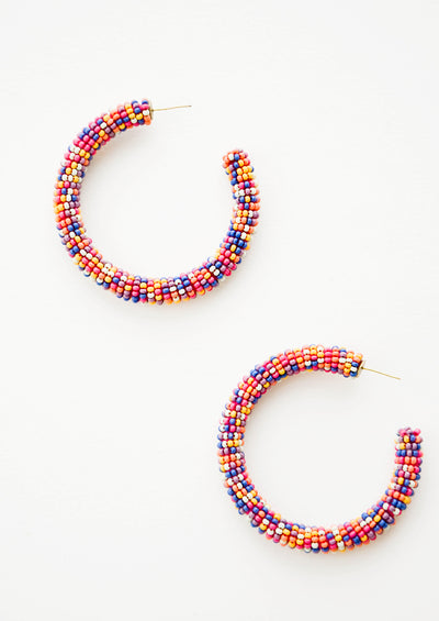 Confetti Beaded Hoop Earrings