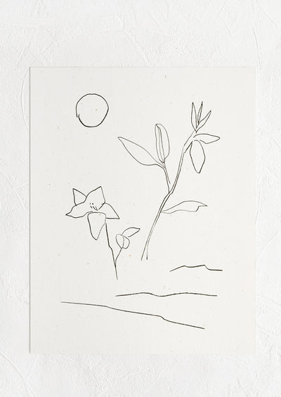 A black and white minimal line drawing art print with flowers, waves and sun.
