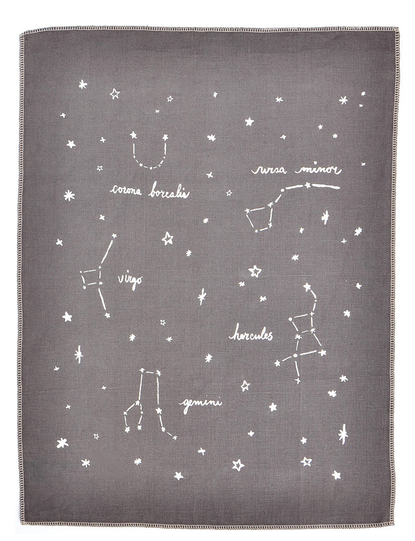 Smoke / Silver: Constellations Tea Towel in Smoke / Silver - LEIF