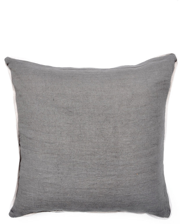 Contrast Trim Linen Pillow Cover
