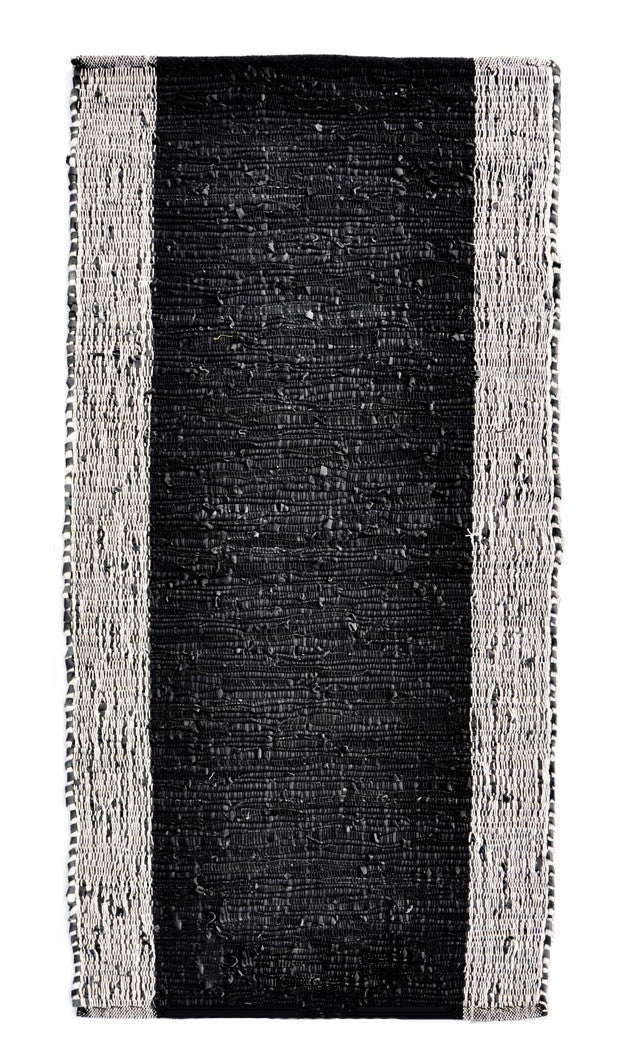 Black: Cotton & Leather Weave Rug in Black - LEIF