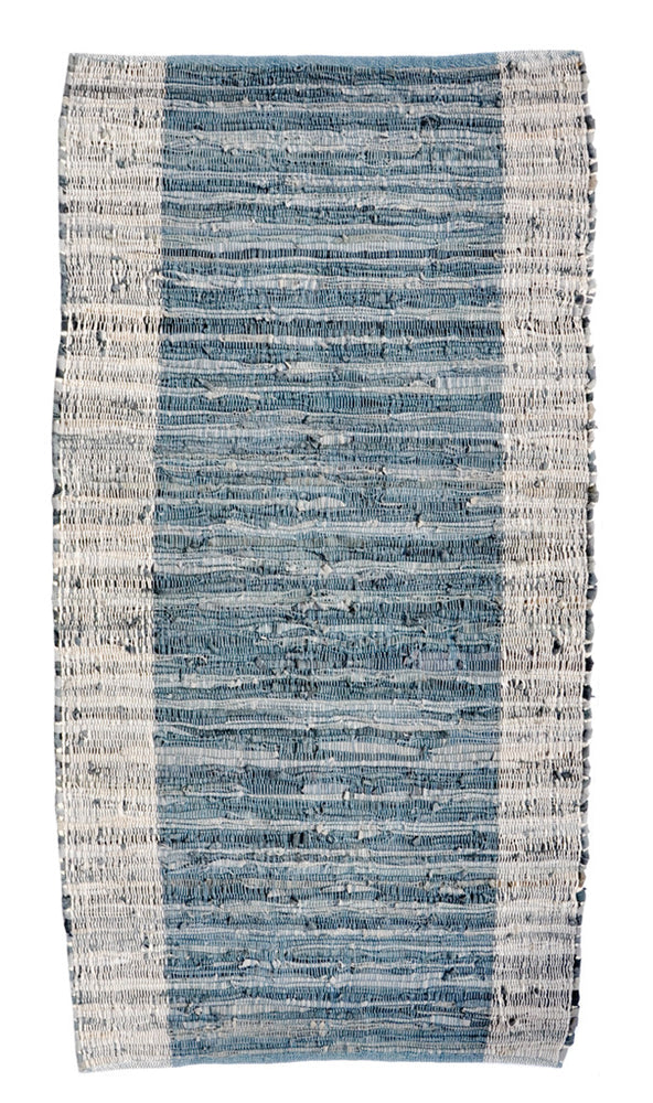 Steel Blue: Cotton & Leather Weave Rug in Steel Blue - LEIF