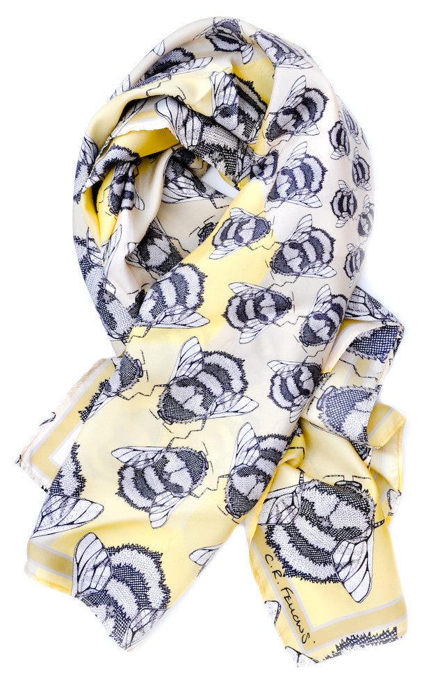 Craig Fellows Bee Print Silk Square Scarf