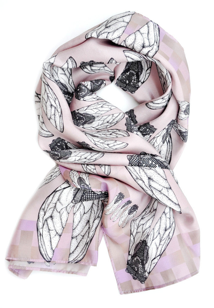 Flittering Flies Square Silk Scarf - LEIF