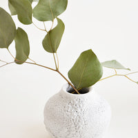 1: Small, round and wide vase with heavily textured, crater-like glaze in cool white, shown with eucalyptus sprig