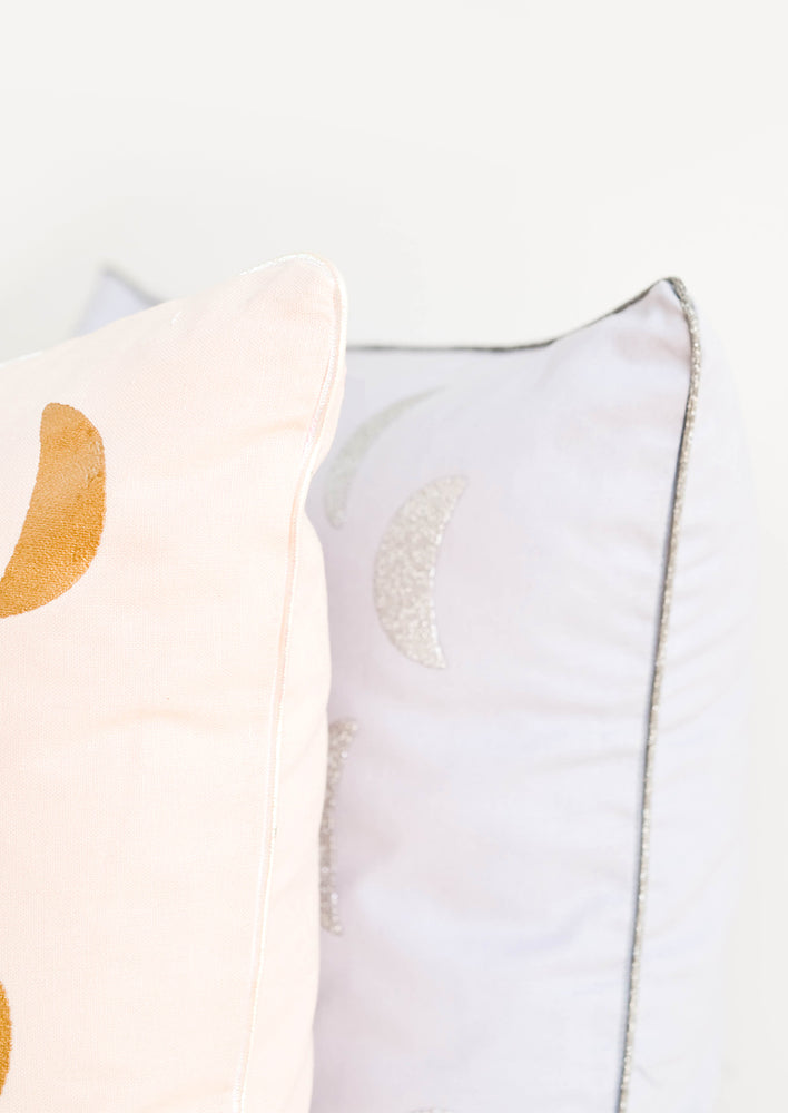 3: Detail of Moon Printed Pillows with Metallic Piped Trim Detail - LEIF