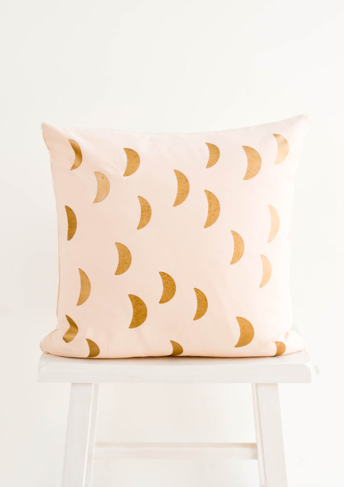 1: Square Throw Pillow in Light Pink with Printed Front, Metallic Crescent Moon Print in Gold