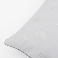 Smoke / Silver Glitter [$39.99]: Grey linen blend throw pillow with silver glitter moon print on front, trimmed in metallic silver piping