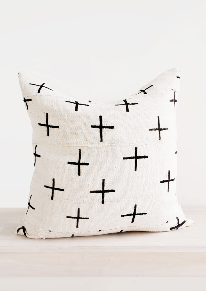 1: Cross Mudcloth Pillow in  - LEIF