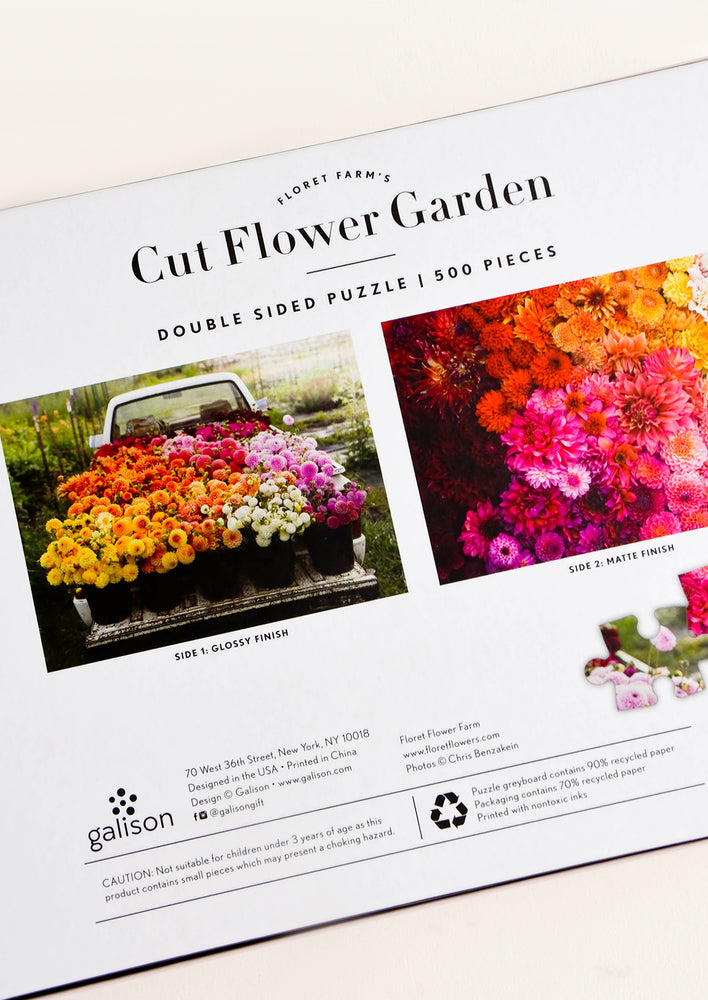 2: Two different floral-themed photographs showing two jigsaw puzzle designs