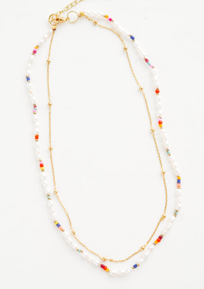 Dainty Rainbow Pearl Necklace