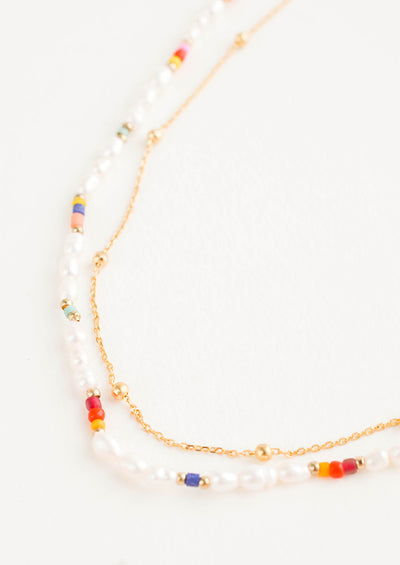 Dainty Rainbow Pearl Necklace hover