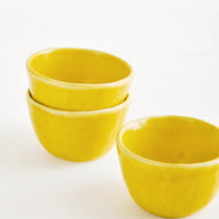 Daybreak: Little Hand Built Mini Ceramic Bowls in Daybreak Yellow - LEIF