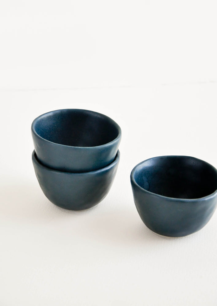 Deep Ocean: Little Hand Built Mini Ceramic Bowls in Deep Ocean Blue/Green - LEIF