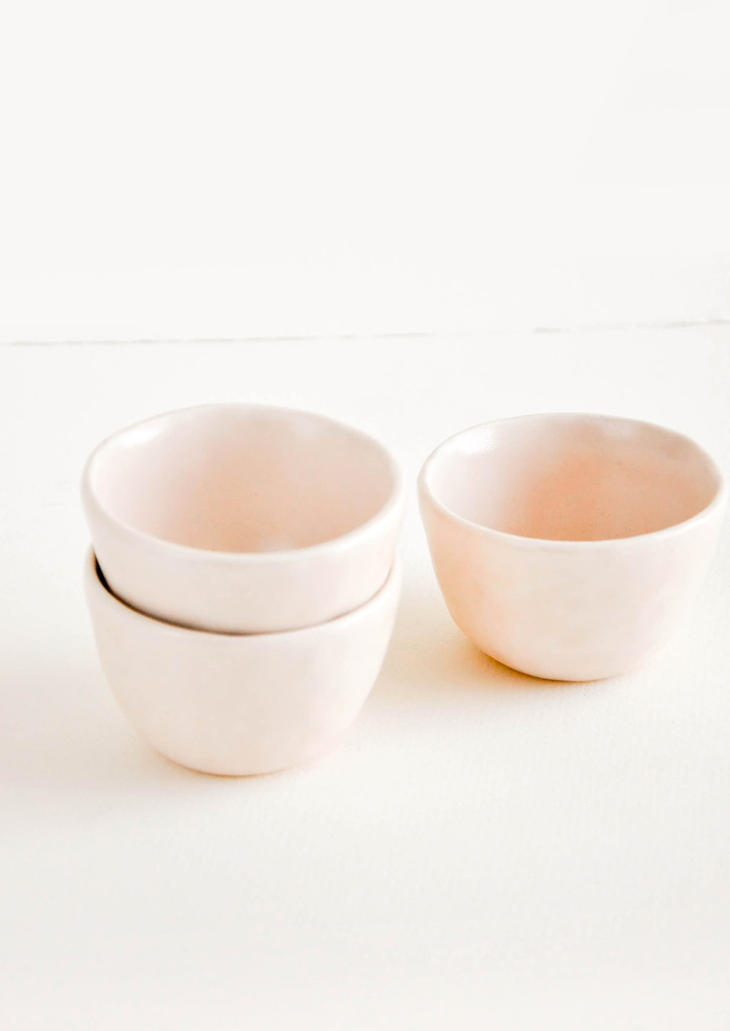 Summer Sweet: Little Hand Built Mini Ceramic Bowls in Light Pink - LEIF
