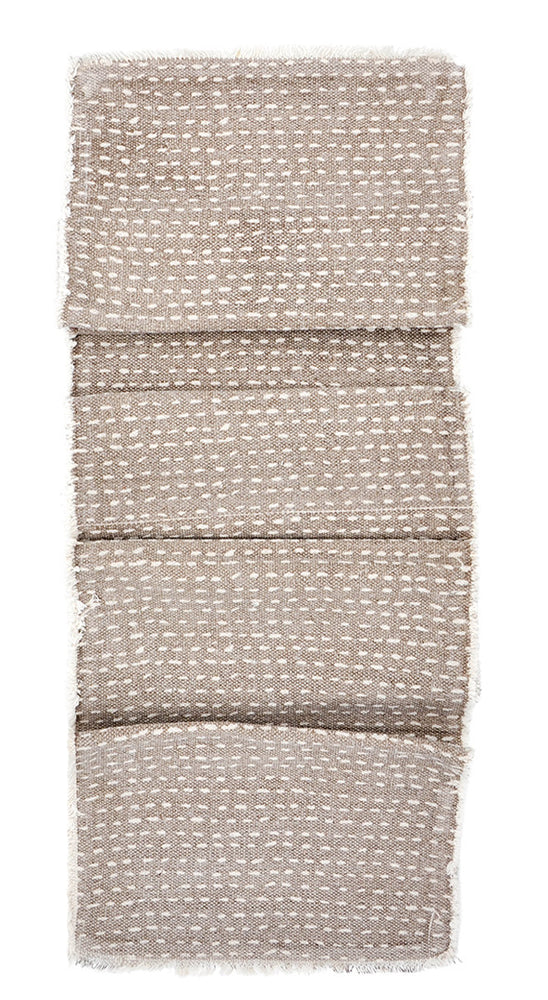 2: Dash Stitch Embroidered Table Runner in Taupe / White - LEIF