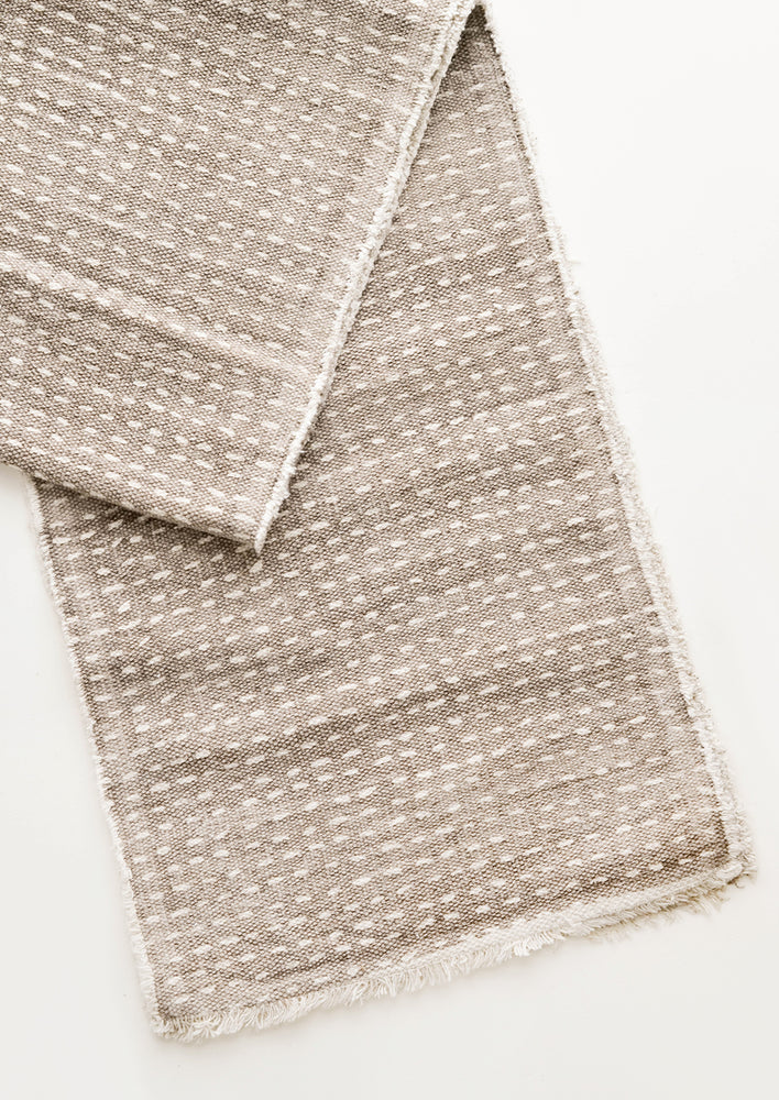 Dash Stitch Embroidered Table Runner in Taupe / White - LEIF