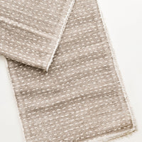 1: Dash Stitch Embroidered Table Runner in Taupe / White - LEIF