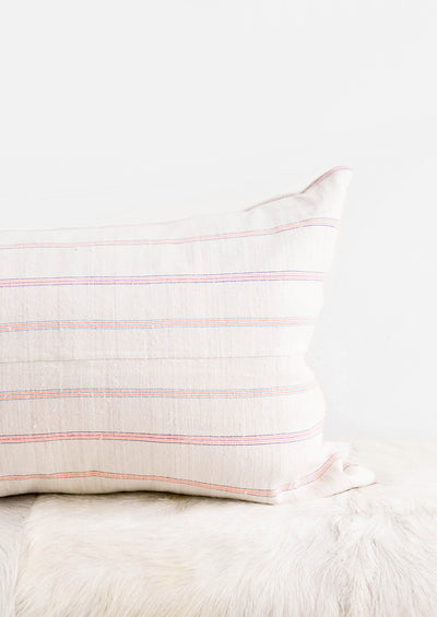 Vintage Hemp Pillow in Day Glo Stripe hover