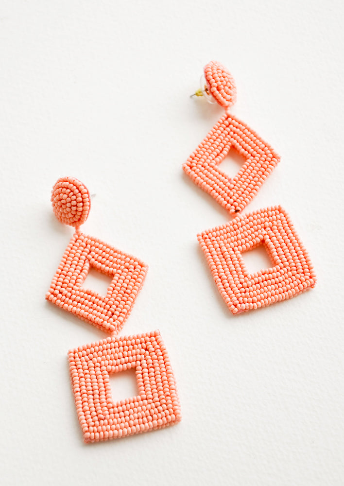 Salmon: Delano Beaded Earrings in Salmon - LEIF