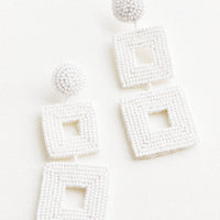 White: Delano Beaded Earrings in White - LEIF