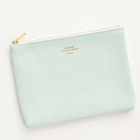 Mint / Medium: Medium vinyl pouch with gold zipper and crosshatch texture, in mint green.