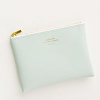 Mint / Small: Small vinyl coin pouch with gold zipper and crosshatch texture, in mint green.