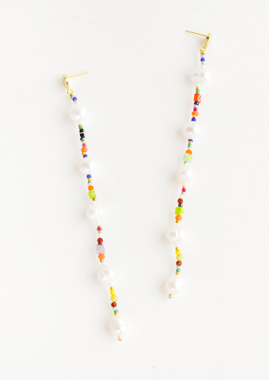 3: Long, dangly post back earrings made from a colorful mix of glass, gemstone & white pearl beads