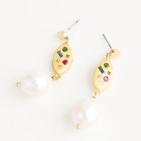 3: Dangle earrings with round gold post, gold baguette middle with embedded gemstones, pearl bead bottom
