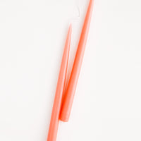 Peach: Pair of Two taper Candles in coral peach.