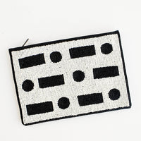 1: Dot Dash Beaded Clutch in  - LEIF