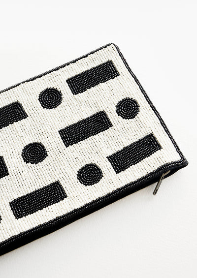 Dot Dash Beaded Clutch