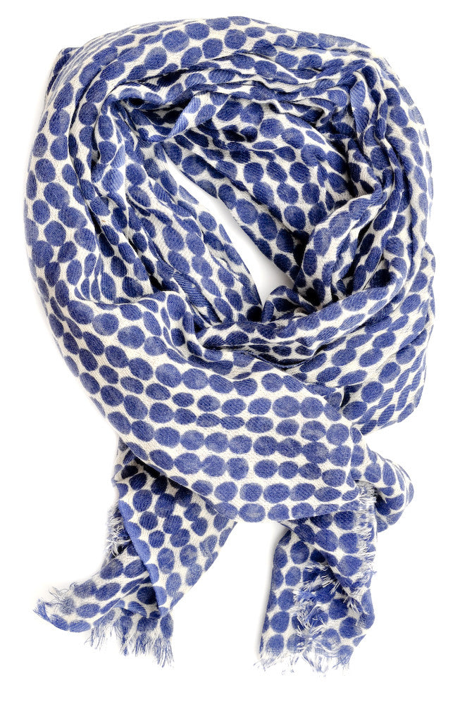 Dot Print Wool Scarf in Navy - LEIF
