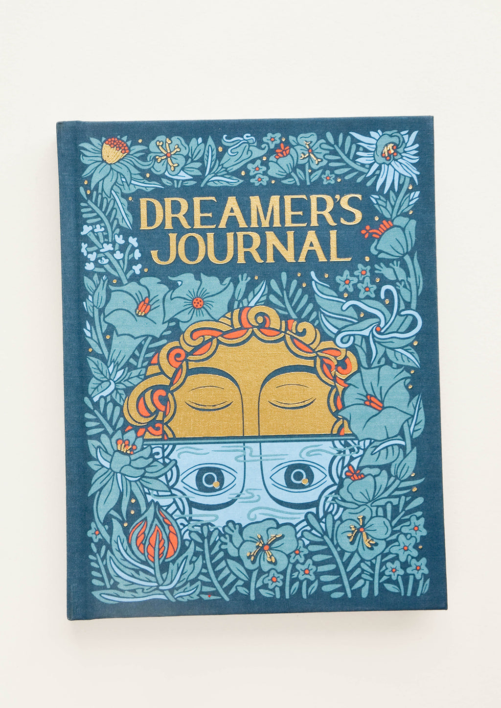"1: Fabric-covered journal with mystical moon and floral print, titled ""Dreamer's Journal"""