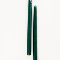 Emerald: Pair of taper candles in emerald green
